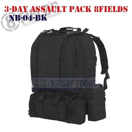 3-Day Assault BackPack Black 8FIELDS (NB-04-BK)