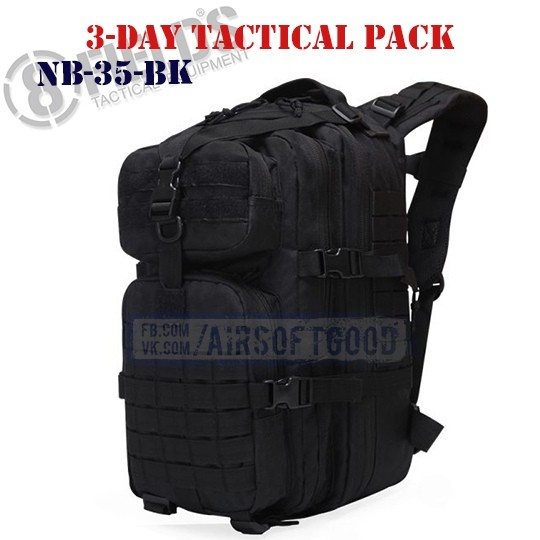 3-Day Tactical BackPack Black 8FIELDS (NB-35-BK)