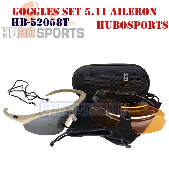 Goggles Set 5.11 AILERON SHIELD Sandstone HUBOSPORTS (HB-52058T)