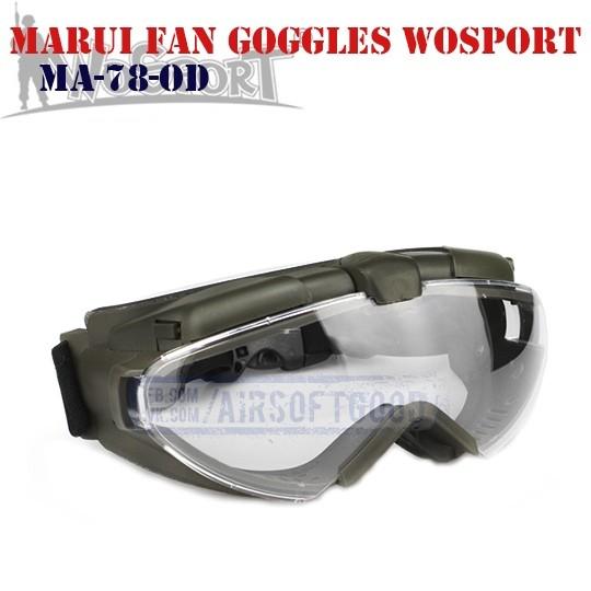 MARUI Fan Ventilated Goggles Olive WoSporT (MA-78-OD)