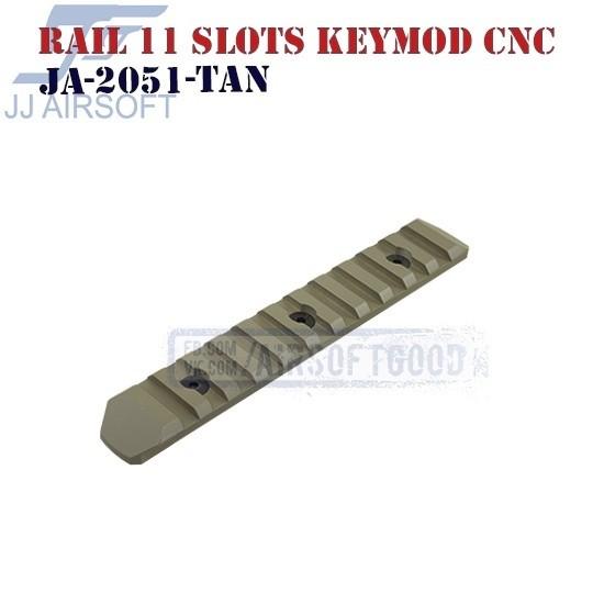 Rail 11 Slots KeyMod Aluminum CNC TAN JJ Airsoft (JA-2051-TAN)
