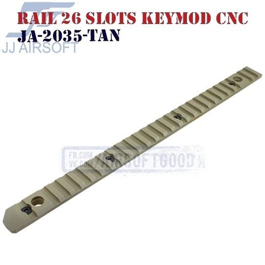 Rail 26 Slots QD Swivels KeyMod Aluminum CNC TAN JJ Airsoft (JA-2035-TAN)