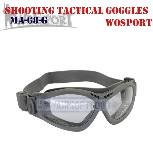 Shooting Tactical Protective Goggles Grey WoSporT (MA-68-G)