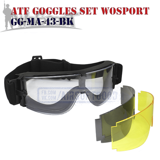 Goggles ATF Set WoSporT (GG-MA-43-BK)