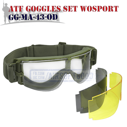 Goggles ATF Set Olive WoSporT (GG-MA-43-OD)