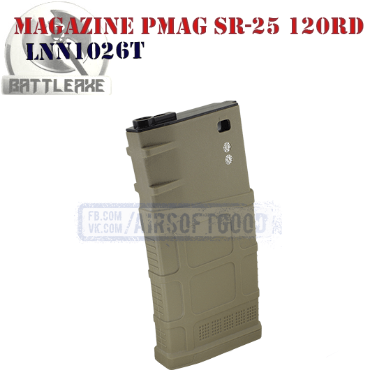 Magazine PMAG GEN M3 SR-25 120rd TAN BATTLEAXE LNN1026T