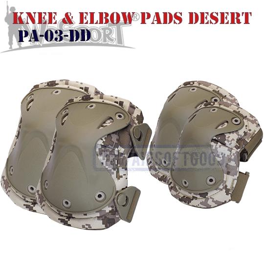 Knee & Elbow XTAK Pads Set Digital Desert WoSporT USArmy PA-03