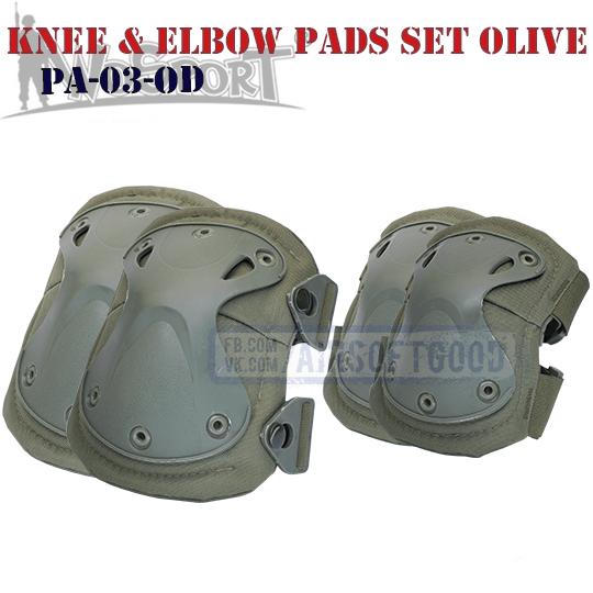 Knee & Elbow XTAK Pads Set Olive WoSporT тактические наколенники PA-03-OD