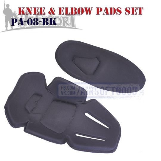 Knee & Elbow COMBAT Pads Set Black WoSporT (PA-08-BK)