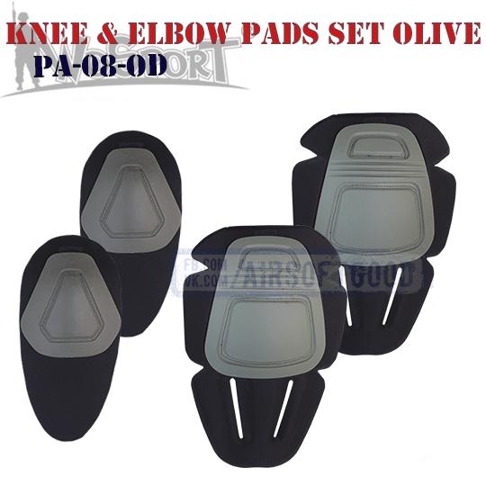 Knee & Elbow COMBAT Pads Set Olive WoSporT PA-08-OD наколенники страйкбол