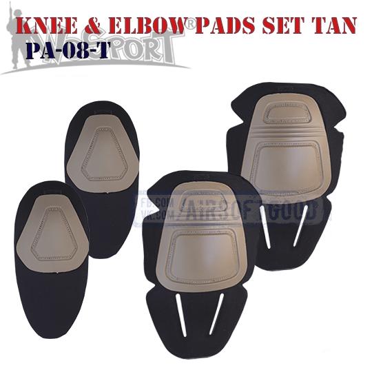 Knee & Elbow COMBAT Pads Set TAN WoSporT PA-08-T наколенники защитные