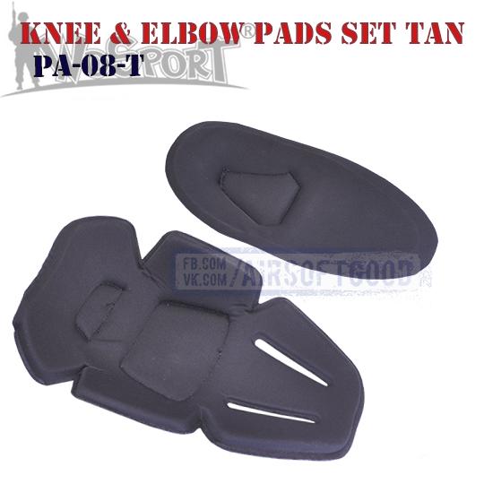 Knee & Elbow COMBAT Pads Set TAN WoSporT (PA-08-T)