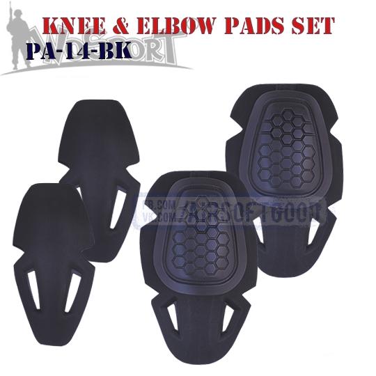 Knee & Elbow IMPACT COMBAT Pads Set Black WoSporT G4 PA-14-BK