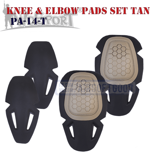 Knee & Elbow IMPACT COMBAT Pads Set TAN WoSporT PA-14-T милитарист наколенники