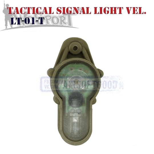 Tactical Signal Light Red Velcro TAN WoSporT LT-01-T